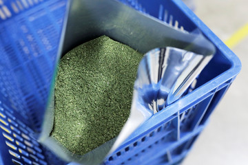 Processed cannabis leaves are seen inside a production plant in Pesca