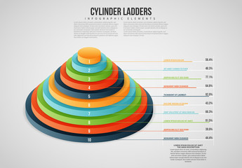 Isometric Cylinder Ladders Info Chart Layout