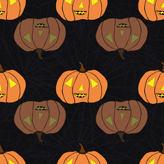 Bright spooky orange and transparent pumpkins. Seamless vector pattern on subtle spiderweb black background. Great for Halloween products, giftwrap, party, invitations, stationery