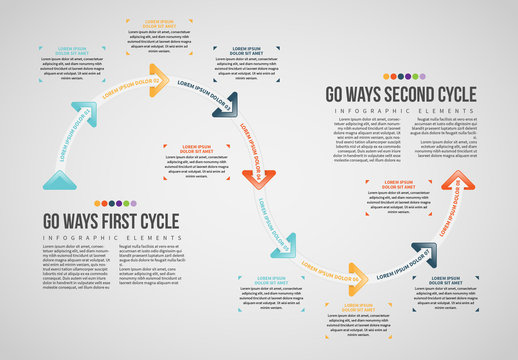 Cycle with Triangle Arrows Info Chart Layout