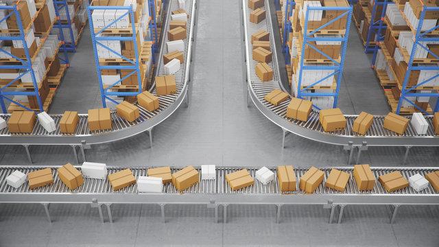 Packages delivery, parcels transportation system concept, cardboard boxes on conveyor belt in warehouse. Warehouse with cardboard boxes inside on pallets racks. Huge modern warehouse, 3D Illustration