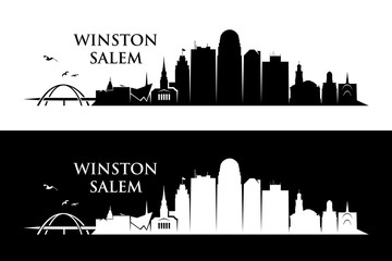 Fototapete - Winston - Salem skyline - North Carolina, United States of America, USA - vector illustration