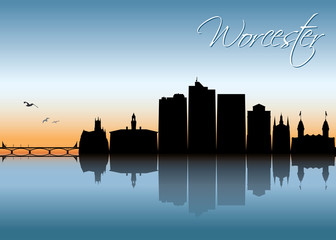 Fototapete - Worcester skyline - Massachusetts, United States of America, USA - vector illustration