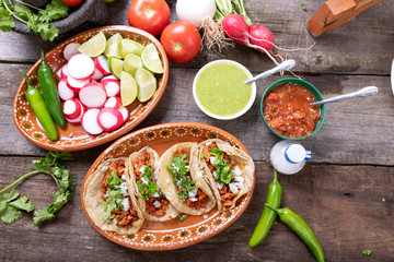Wall Mural - Tacos of meat to the shepherd or marinated