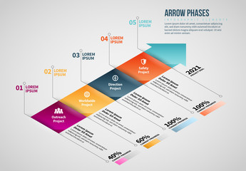 Isometric Arrow Phases Info Chart Layout