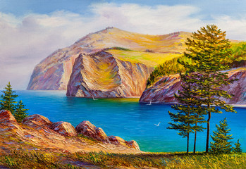 Pines on the coast of the sea. Oil painting.