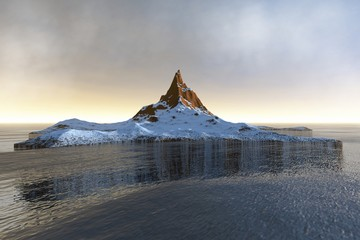 Island, a polar landscape, snow on the ground, reflection in water and clouds in the sky.