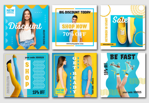 6 Social Media Banner Layouts with Blue and Yellow Accents