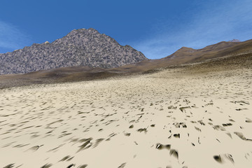 Desert, a rocky landscape, mountains, dry ground and a blue sky.