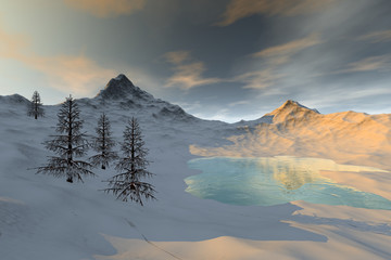 Snow around the lake, a winter landscape, coniferous trees and a cloudy sky.