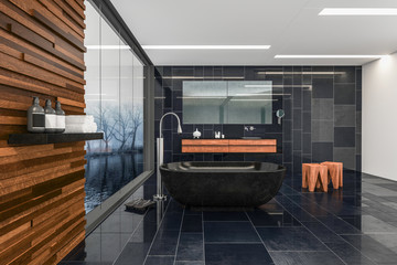 Modern stylish spacious bathroom with grey tiles