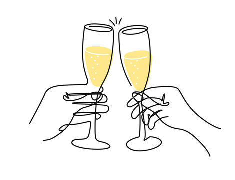 Doodle of two hands with champagne