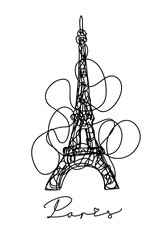 France. Paris city. Eiffel Tower hand drawn