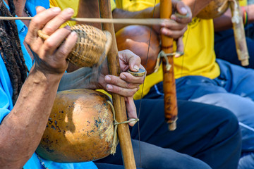 Brazilian musical instrument called berimbau and usually used during capoeira brought from africa and modified by the slaves