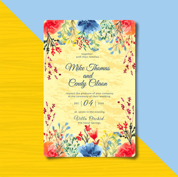 yellow invitation with floral watercolor