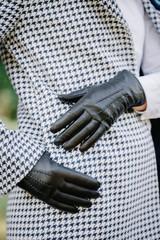 black gloves with seams
