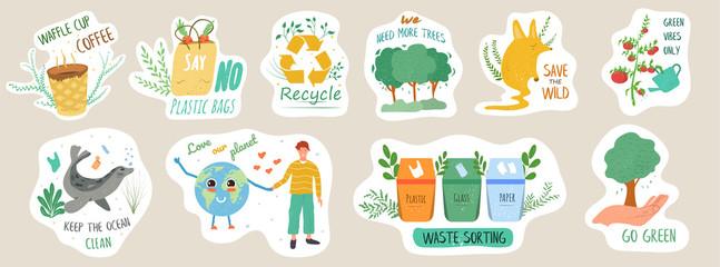 Set of ecology stickers with slogans. Bundle of decorative design elements. Flat cartoon vector illustration
