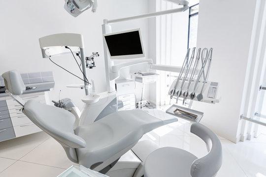 Dentist chair in new modern dental clinic office