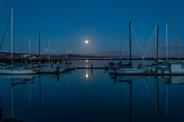 The Moon Sets Over the Boat Harbor, Redwood City, California