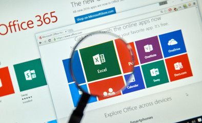 MONTREAL, CANADA - MARCH 20, 2016 - Microsoft Office 365 Excel logo on PC screen. Microsoft Office is one of the most popular office suite software.