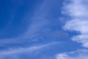 Tuinposter Aan het plafond Abstract blurred background Blue sky with white clouds in sunlight.