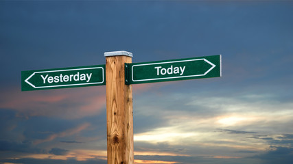 Wall Sign Today versus Yesterday