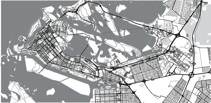 Urban vector city map of Abu Dhabi, United Arab Emirates