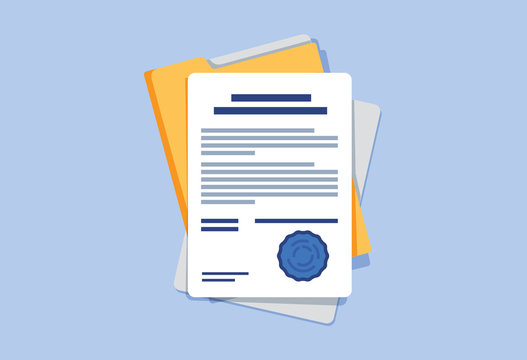 Contract or document signing icon. Document, folder with stamp and text. Contract conditions, research approval