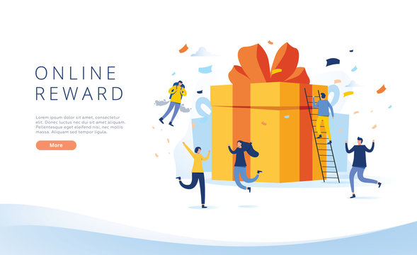 online reward , Group of happy people receive a gift box vector illustration concept, referral program landing page