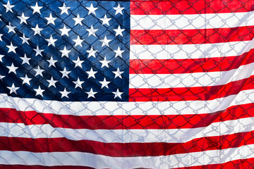 US-American flag on fence, close up