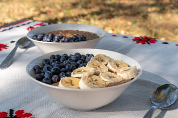 Vegan oatmeal breakfast. Porridge bowl with slices of bananas and blueberries sitting on a table with rustic motifs in a rural garden background. Healthy lifestyle concept.