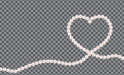 Abstract background with natural pearl garlands of beads in heart shape. Vector illustration
