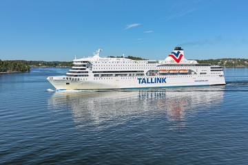 Cruiseferry MS Romantika of Tallink shipping company on June 1, 2018 in Stockholm archipelago, Sweden