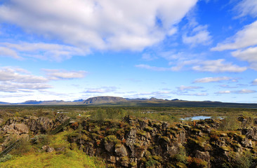 Wall Mural - Autumn landscape in Pingvellir National Park, Iceland, Europe