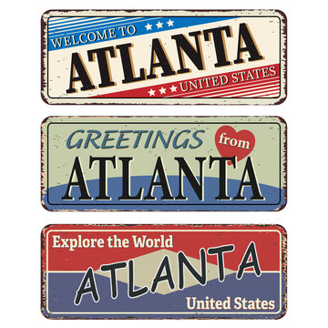 Vintage tin sign. Atlanta. Retro souvenirs or old postcard templates on rust background.