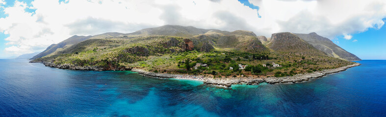 Aerial Panorama with Zingaro Nature Reserve Park, between San Vito lo Capo and Scopello, Trapani province, Sicily, Italy