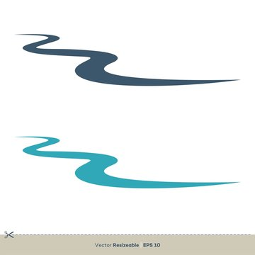Creek Line Vector Logo Template Illustration Design. Vector EPS 10.