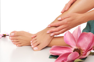 Foto op Plexiglas Pedicure The zoom to the beautiful done pedicure and manicure. Studio shoot.