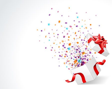 Gift box prize with surpise colorful stars and confetti explosion on white background with place for text vector illustration