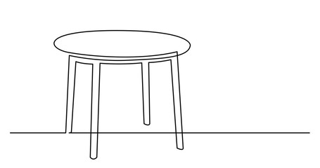 continuous line drawing of simple round table