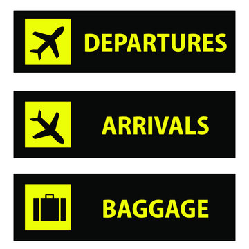 Departure and arrival, baggage and luggage  Icon or sign pointers for navigation in airport, professional graphic vector illustration optimized for large anв small size. isolated on white background.
