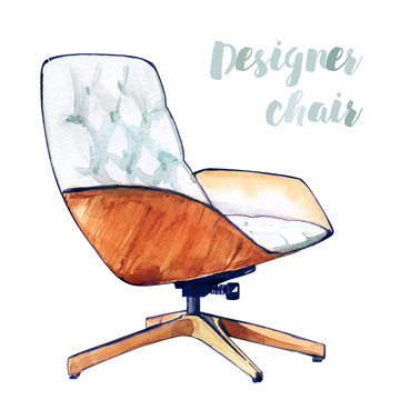 Armchair chair design white wood spinning interior director sit watercolor isolated