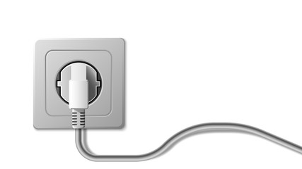 Realistic electric socket and plug on white background, vector illustration