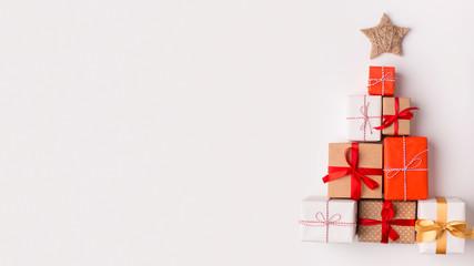 Handmade Christmas tree made of presents and gifts