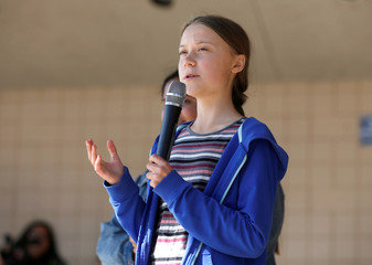 Climate change environmental activist Greta Thunberg speaks at a climate change rally and march in Rapid City, South Dakota