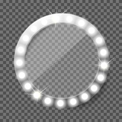 Round makeup mirror with light bulbs. Illuminated vintage vanity mirror. Coming soon vector concept