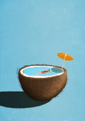 Illustration of woman swimming in tropical coconut pool