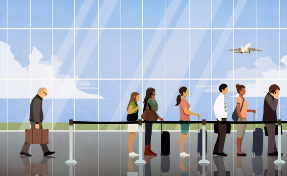 Illustration of people waiting in queue at airport security