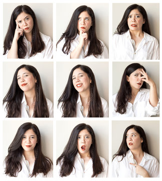 Collage of beautiful woman with different facial expressions and gestures isolated on gray background. Set of multiple images