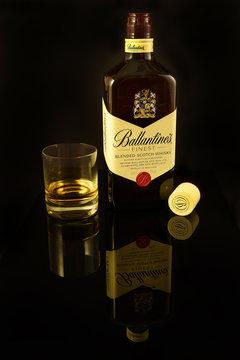 Bottle of Ballantine's Finest Scotch Whisky. The brand was established in 1827 when George Ballantine supplied whiskies to his clientele in Edinburgh